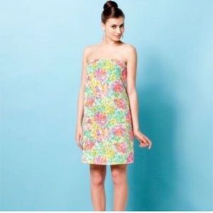 Lilly Pulitzer Pink Floral Strapless Keetan Dress